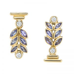 Bay Leaf Earrings With Diamonds And Tanzanites