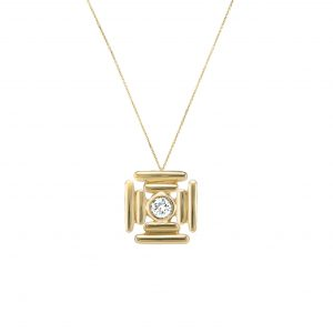 Banded Maltese Cross Necklace