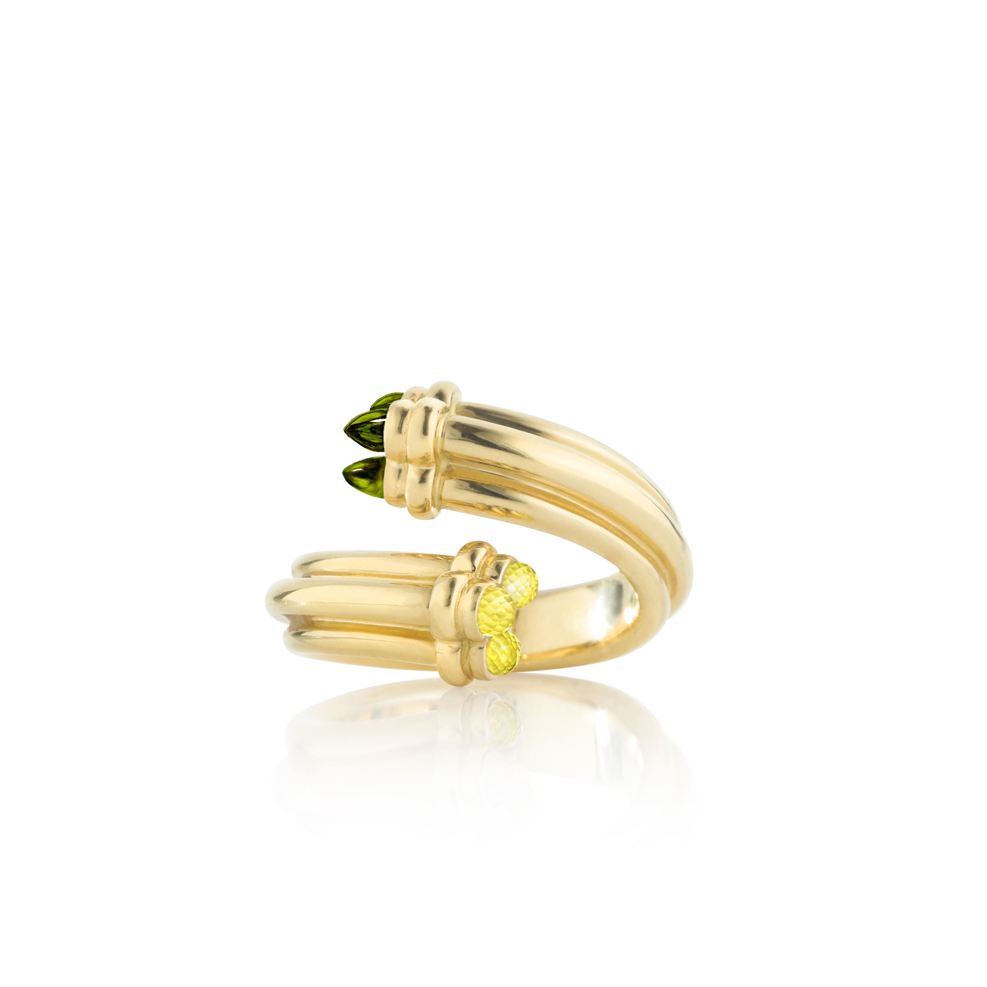 Trefoil Ring With Yellow Sapphires And Green Tourmalines