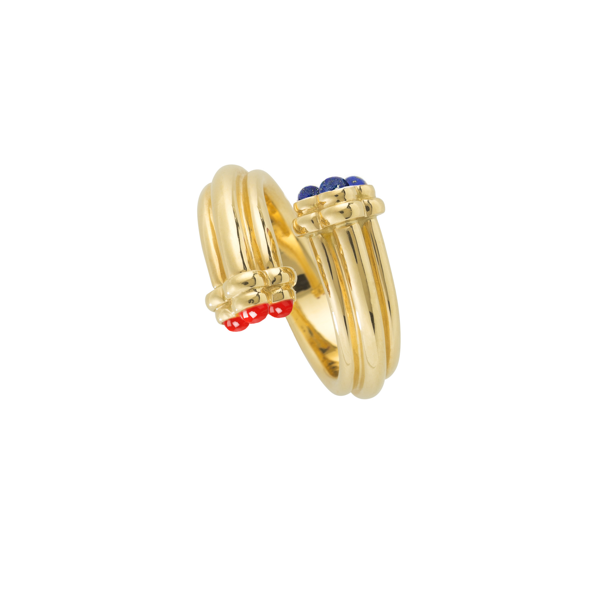 Trefoil Ring With Lapis And Coral