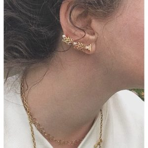 Bay Leaf Ear Climber With Diamonds And Sapphires