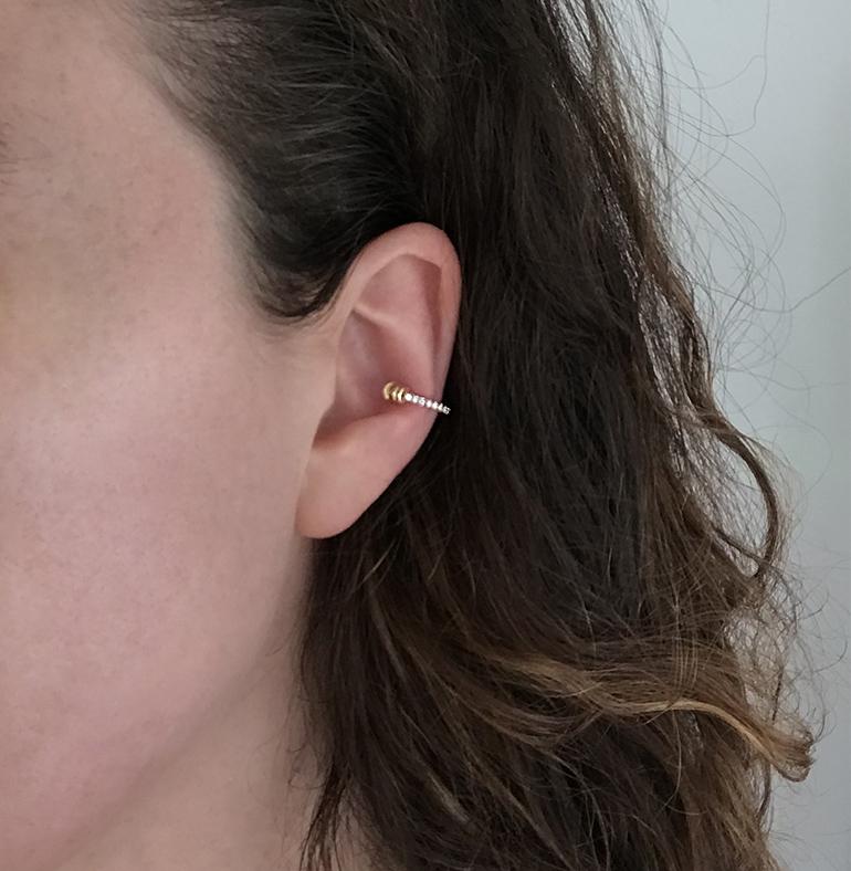 Skinny Diamond Ear Cuff With Doric Capital
