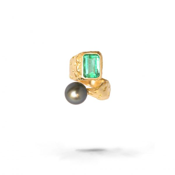 Rusticated Emerald And Pearl Ring